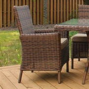 South Sea Rattan Del Ray Patio Dining Chair w/ Cushion; Cornsilk