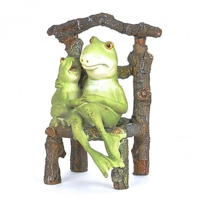 August Grove Jenette Polyresin Frog and Little Frog on Chair Figurine