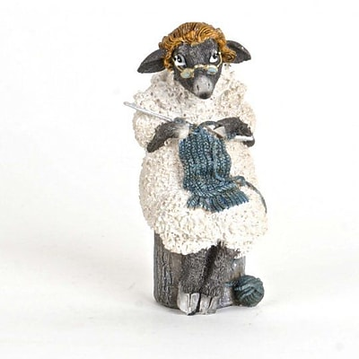 August Grove Krueger Polyresin Knitting Sheep Figurine