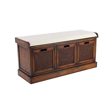 Bayou Breeze Harrisburg Rustic 3-Drawer Upholstered Storage Bench