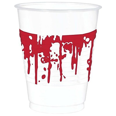 Amscan Halloween Blood Splattered 16 oz. Plastic Everyday Cup (Set of 50) WYF078282233187