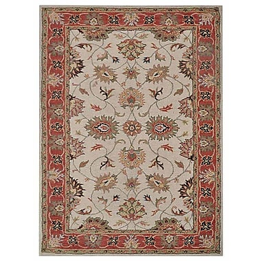 Astoria Grand Hubbell Vintage Hand-Tufted Wool Cream/Red Area Rug