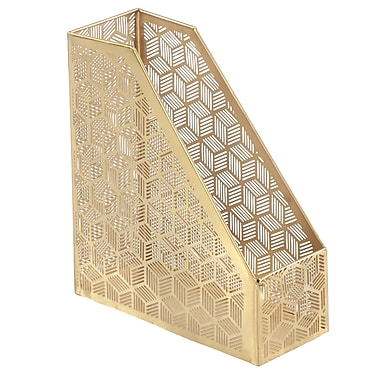 Bungalow Rose Merino Modern Iron Geometric Lattice Design Open Box Magazine Rack