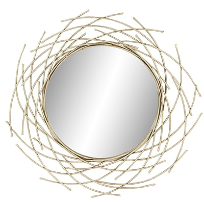 Bayou Breeze Harpswell Modern Metal and Fir Wood Overlapping Arc Accent Mirror
