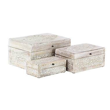 Bungalow Rose Torrance Carved Natural Mango Wood 3 Piece Decorative Box Set w/ Lid