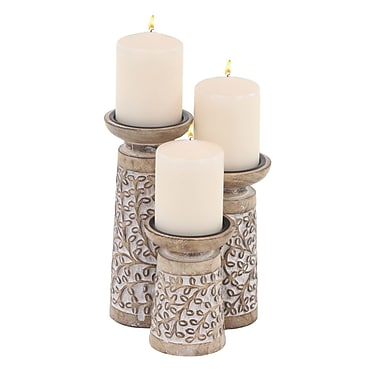 Bungalow Rose Patterned 3 Piece Wood and Metal Candlestick Set