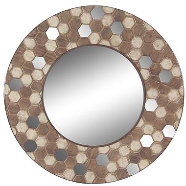 Bungalow Rose Monte Vista Modern Honeycomb Design Round Wood-Framed Accent Mirror