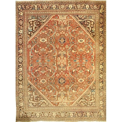 Pasargad NY Mahal Hand-Knotted Wool Rust/Brown Area Rug