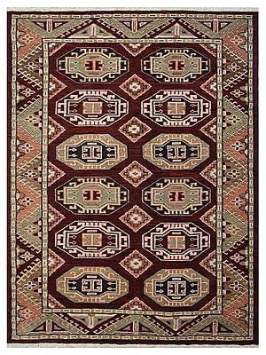 Bloomsbury Market Corrin Hand-Knotted Wool Green/Brown Area Rug; 5' x 8'