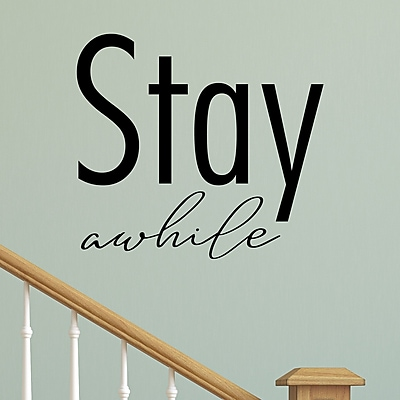 Belvedere Designs LLC Stay Awhile Block Entryway Wall Decal