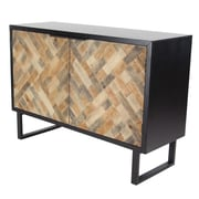 Bloomsbury Market Cholet Modern Wood and Iron Weave-Style 2 Door Accent Cabinet