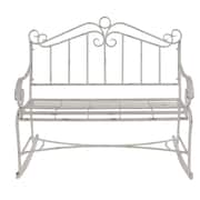 Ophelia & Co. Gianick Traditional Distressed Scrollwork Metal Garden Bench