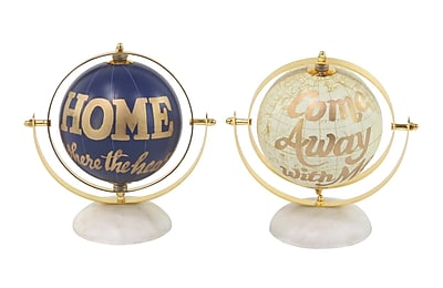 Ebern Designs Modern Aluminum and PVC Globe w/ Dome-Shaped Base (Set of 2)