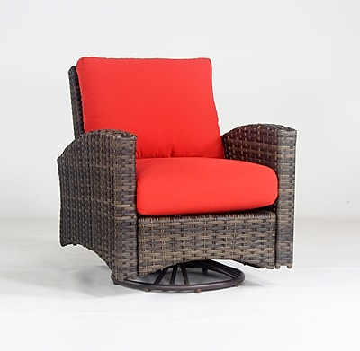 South Sea Rattan Panama Swivel Glider w/ Cushion; Aquamarine