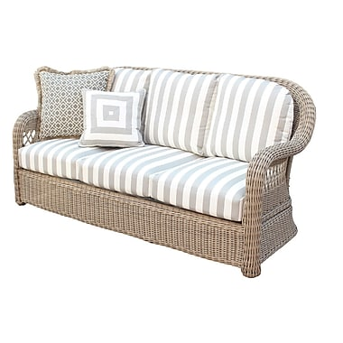 South Sea Rattan Arcadia Sofa w/ Cushion; Dove
