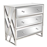 Everly Quinn Jazelle Modern Wood and Stainless Steel Mirrored 3 Drawer Accent Chest