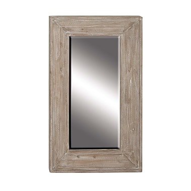 Foundry Select Alorton 45'' Traditional Wooden Rectangular Beveled Accent Mirror