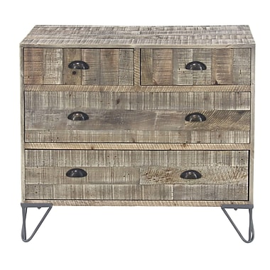 Foundry Select Alsey Rustic Teak and Iron 4 Drawer Accent Chest
