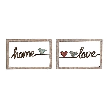 August Grove 2 Piece Modern Home and Love Rectangular Wooden Wall D cor Set