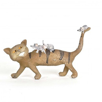 August Grove Huntingdon Polyresin Cat w/ Mice Figurine