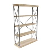 Gracie Oaks Lykens Modern Fir Wood and Iron 4-Tier 72'' Etagere Bookcase