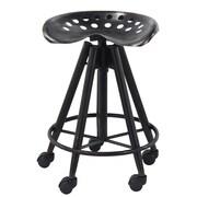 Gracie Oaks Steelton Modern Curved Iron Adjustable Height Bar Stool w/ Wheels