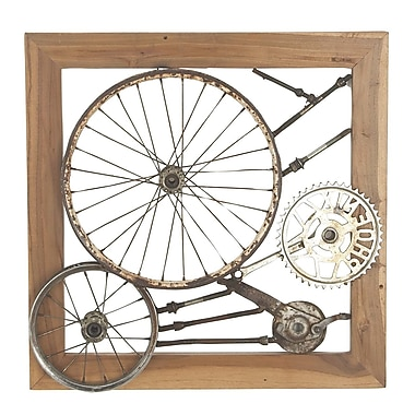 17 Stories Industrial 27'' W x 4'' D Decorative Gears and Wheel Iron and Teak Wood Wall D cor