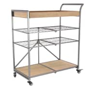 17 Stories Marie-Beatrice Modern Iron and Wood Storage Bar Cart