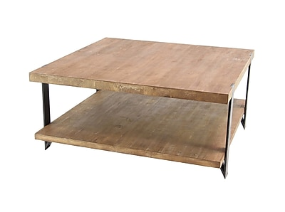 17 Stories Stephene Modern Wood and Iron 2-Tiered Square Coffee Table w/ Magazine Rack