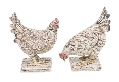 August Grove Eagleswood Farmhouse Detailed Chicken Polystone 2 Piece Figurine Set