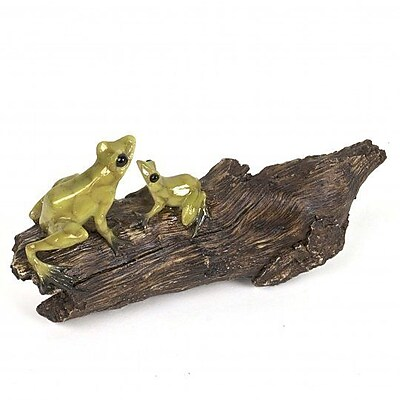 August Grove Kaufman Polyresin Frogs Sit on the Log Figurine