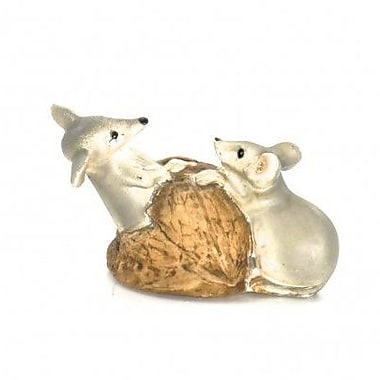 August Grove Harlow Polyresin Two Mice on Top of Walnut Shell Figurine