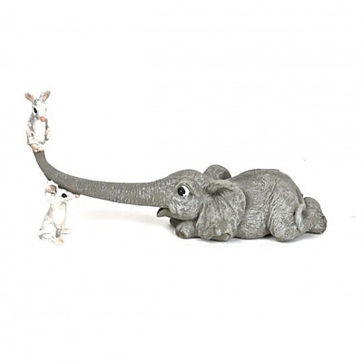 August Grove Irvington Polyresin Elephant Playing w/ Mice Figurine