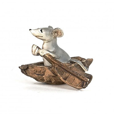 August Grove Langford Polyresin Little Mouse in a Boat Figurine