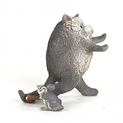 August Grove Horton Polyresin Cat Running Away from Little Mouse Figurine
