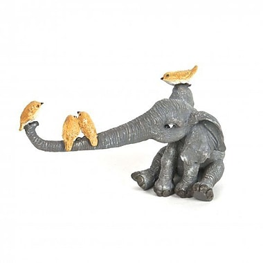 August Grove Idina Polyresin Elephant Playing w/ Birds Figurine