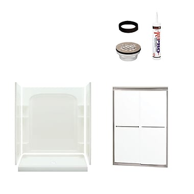 Sterling by Kohler Ensemble Curved Shower Package; Satin Nickel/White