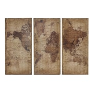 17 Stories Rustic Antique World Map Wood Wall D cor (Set of 3)