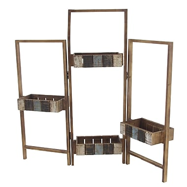 17 Stories Khol Rustic Folding Wooden Plant Stand