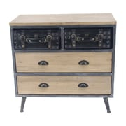 17 Stories DeJuana Modern Wooden 2 Drawer Accent Chest w/ 2 Top Suitcases
