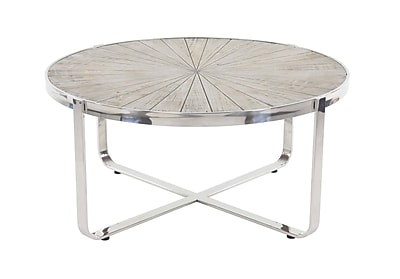 17 Stories Purin Contemporary Pine Wood and Stainless Steel Radial Coffee Table