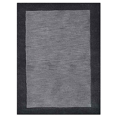 17 Stories Weiqi Hand-Tufted Wool Charcoal/Black Area Rug
