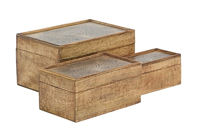 August Grove Downingtown Rustic Abundant Tree Mango Wood 3 Piece Decorative Box Set