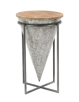 Williston Forge Natacha Modern Inverted Cone-Shaped Iron and Wood End Table