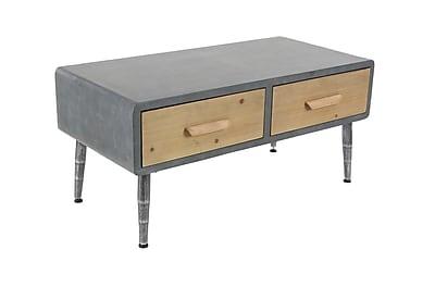 Williston Forge Meri Modern Rectangular 2-Drawer Wooden Coffee Table
