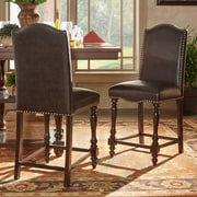 Darby Home Co Hilliard Dinings Chair (Set of 2); Faux Leather - Brown