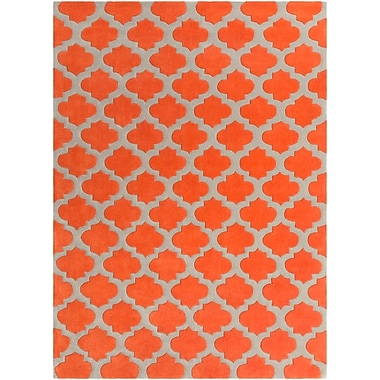 Darby Home Co Freetown Poppy/Gray Geometric Area Rug; Round 8'