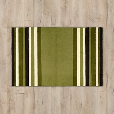 Charlton Home Poquonock Light Green Striped Area Rug