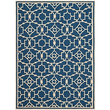 Charlton Home Childers Hand-Hooked Navy/Ivory Indoor/Outdoor Area Rug; Rectangle 8' x 10'