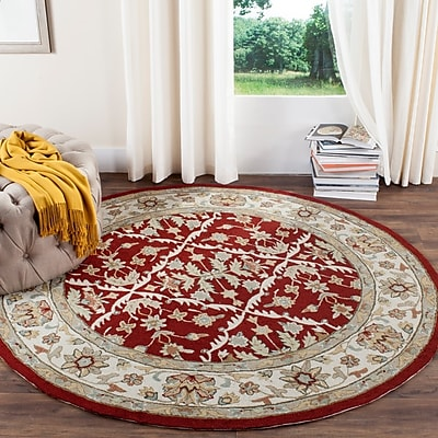 Charlton Home Driffield Hand-Hooked Red / Ivory Area Rug; Rectangle 2' x 3'